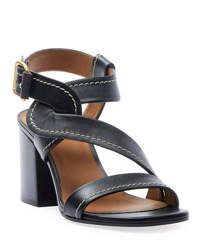 Candice Topstitch Leather Block-Heel Sandals