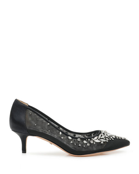 Image 2 of 4: Badgley Mischka Onyx Crystal Mesh Pumps