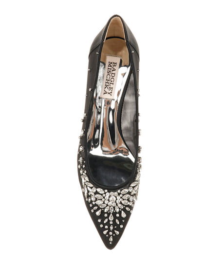 Image 3 of 4: Badgley Mischka Onyx Crystal Mesh Pumps