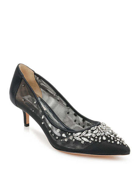 Image 1 of 4: Badgley Mischka Onyx Crystal Mesh Pumps