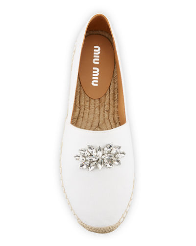 Miu Miu Crystal-Embellished Canvas Espadrilles