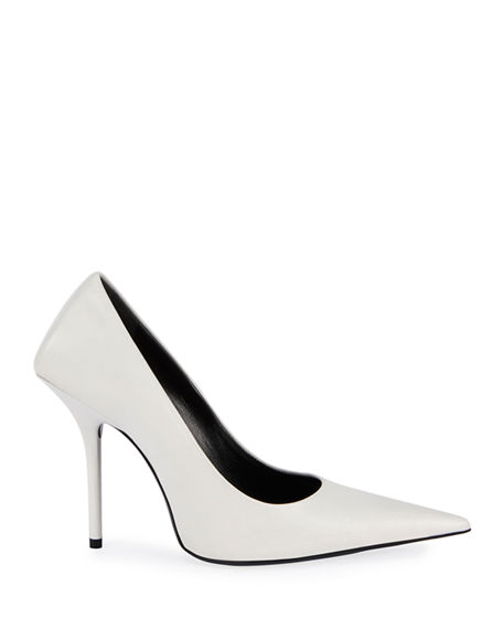 Image 2 of 4: Balenciaga 80mm Square-Back Lambskin Knife Pumps