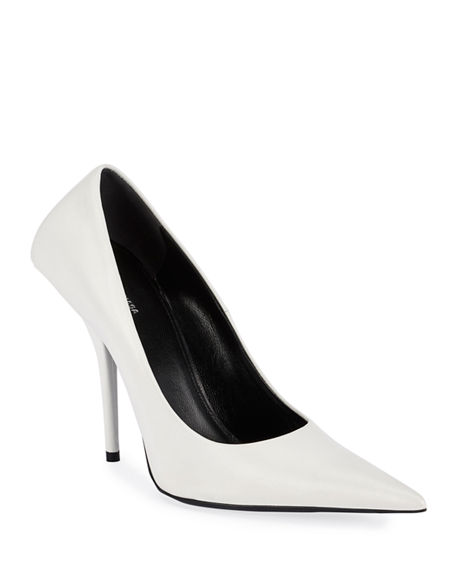 Image 1 of 4: Balenciaga 80mm Square-Back Lambskin Knife Pumps
