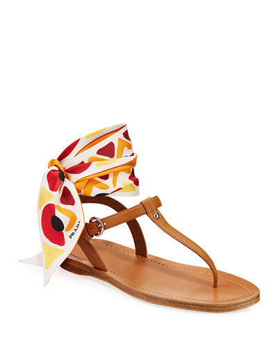 Flat Saffiano Leather Thong Sandals With Scarf Tie