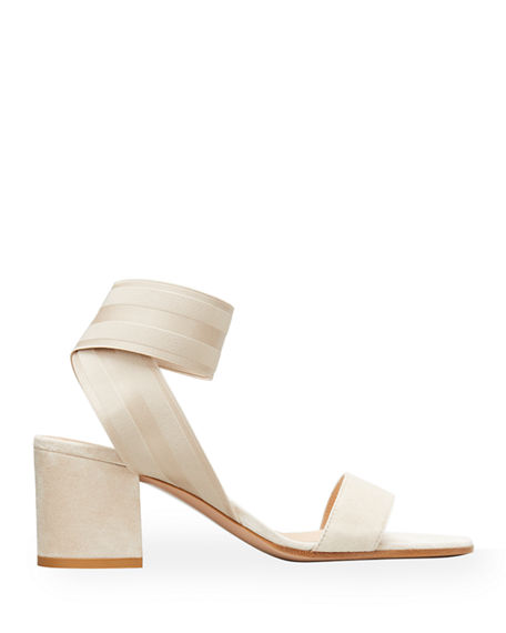Image 1 of 2: Gianvito Rossi Stretch-Strap Cork Sandals