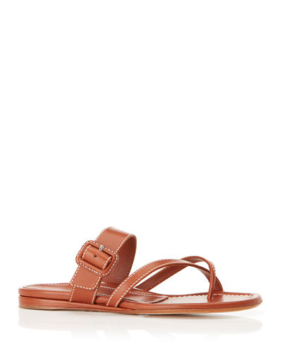 Hayley Leather Flat Sandals