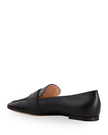 Image 2 of 2: Gianvito Rossi 5mm Flat Square-Toe Leather Loafers