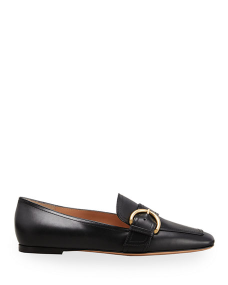 Image 1 of 2: Gianvito Rossi 5mm Flat Square-Toe Leather Loafers