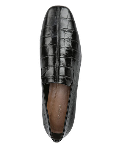 Via Spiga Baudelaire Mock Croc Leather Loafers