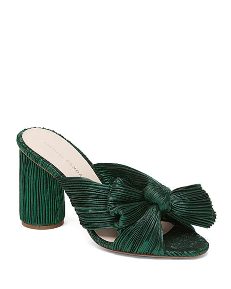 Loeffler Randall Penny Pleated Metallic Slide Sandals