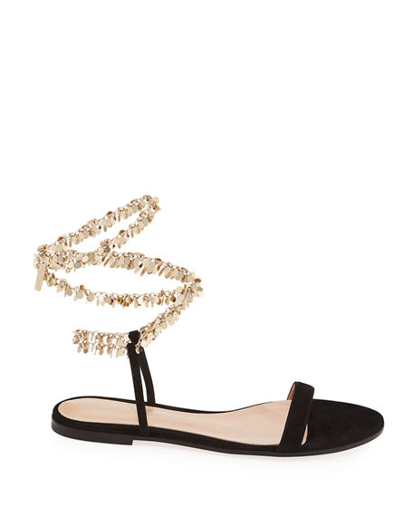 Image 2 of 4: Gianvito Rossi Suede Chain Ankle-Wrap Flat Sandals