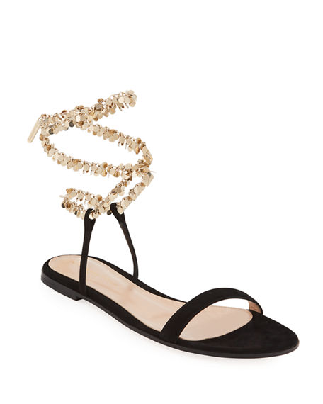 Image 1 of 4: Gianvito Rossi Suede Chain Ankle-Wrap Flat Sandals