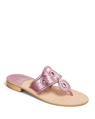 Jacks Flat Metallic Leather Thong Sandals
