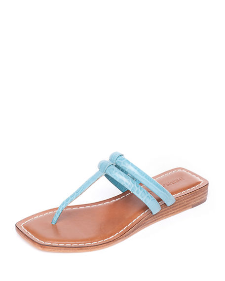 Bernardo Ozette Croc-Embossed Leather Thong Sandals