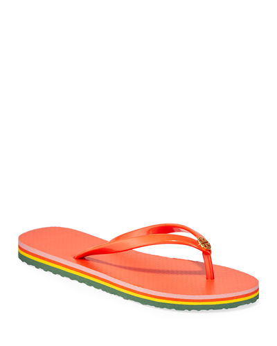 Striped Flat Thong Sandals
