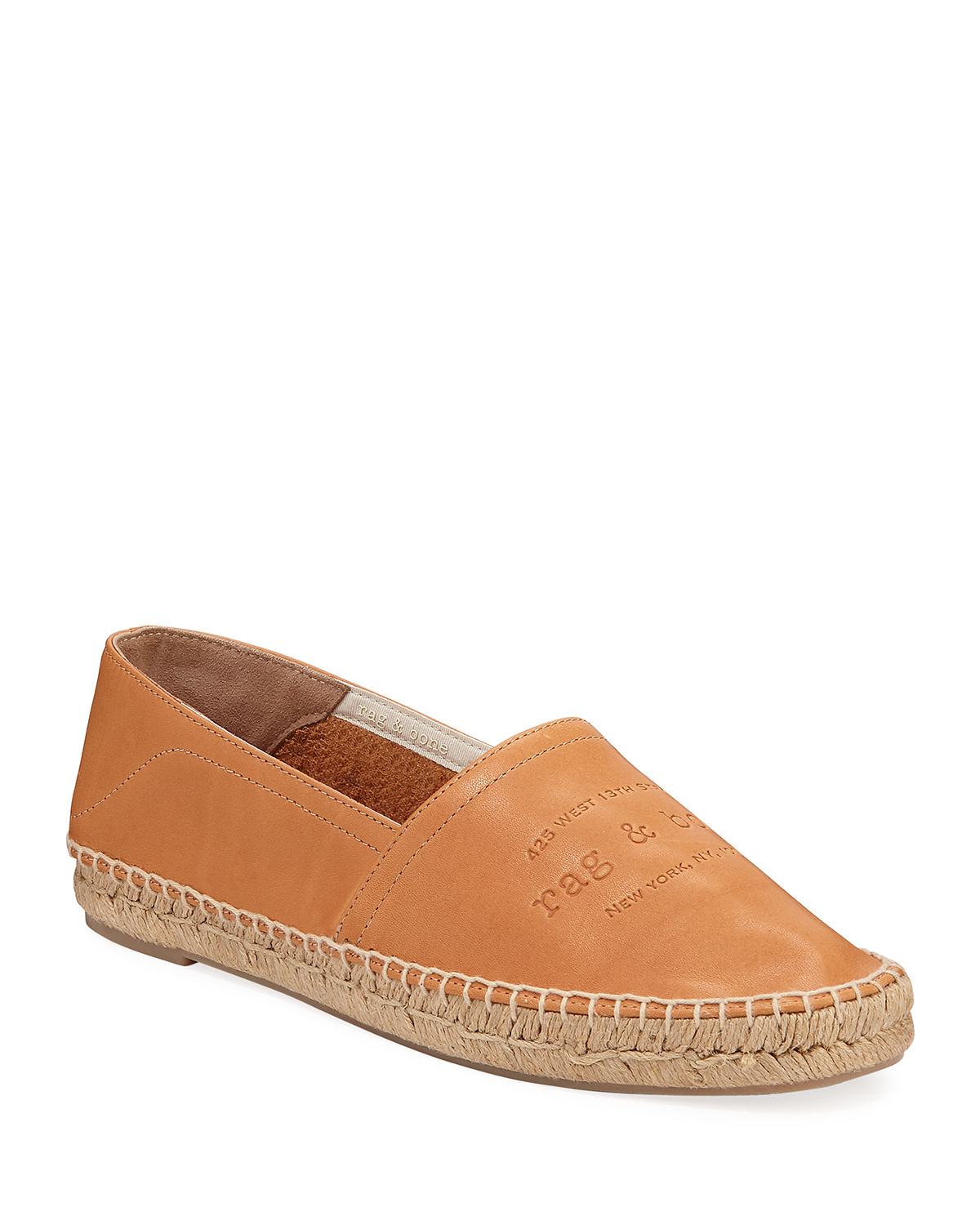 Rag & Bone Shoes EDIE LEATHER LOGO SLIP-ON ESPADRILLES