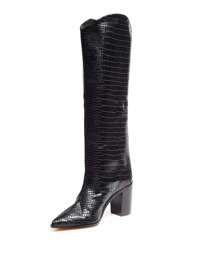Analeah Snake Print Leather Tall Boots by Schutz