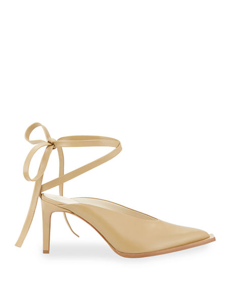 Image 2 of 4: Tibi Neima Leather Ankle-Tie Pumps
