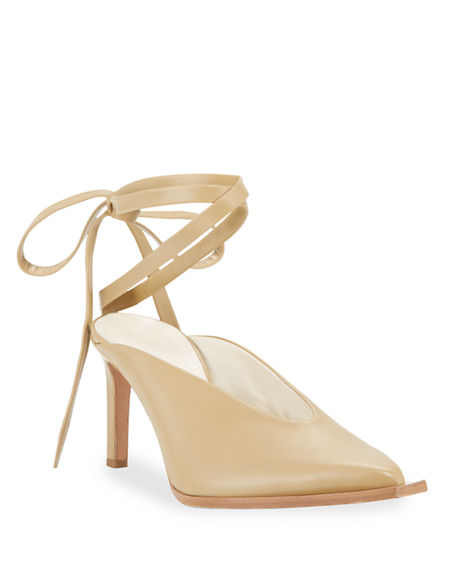Image 1 of 4: Tibi Neima Leather Ankle-Tie Pumps