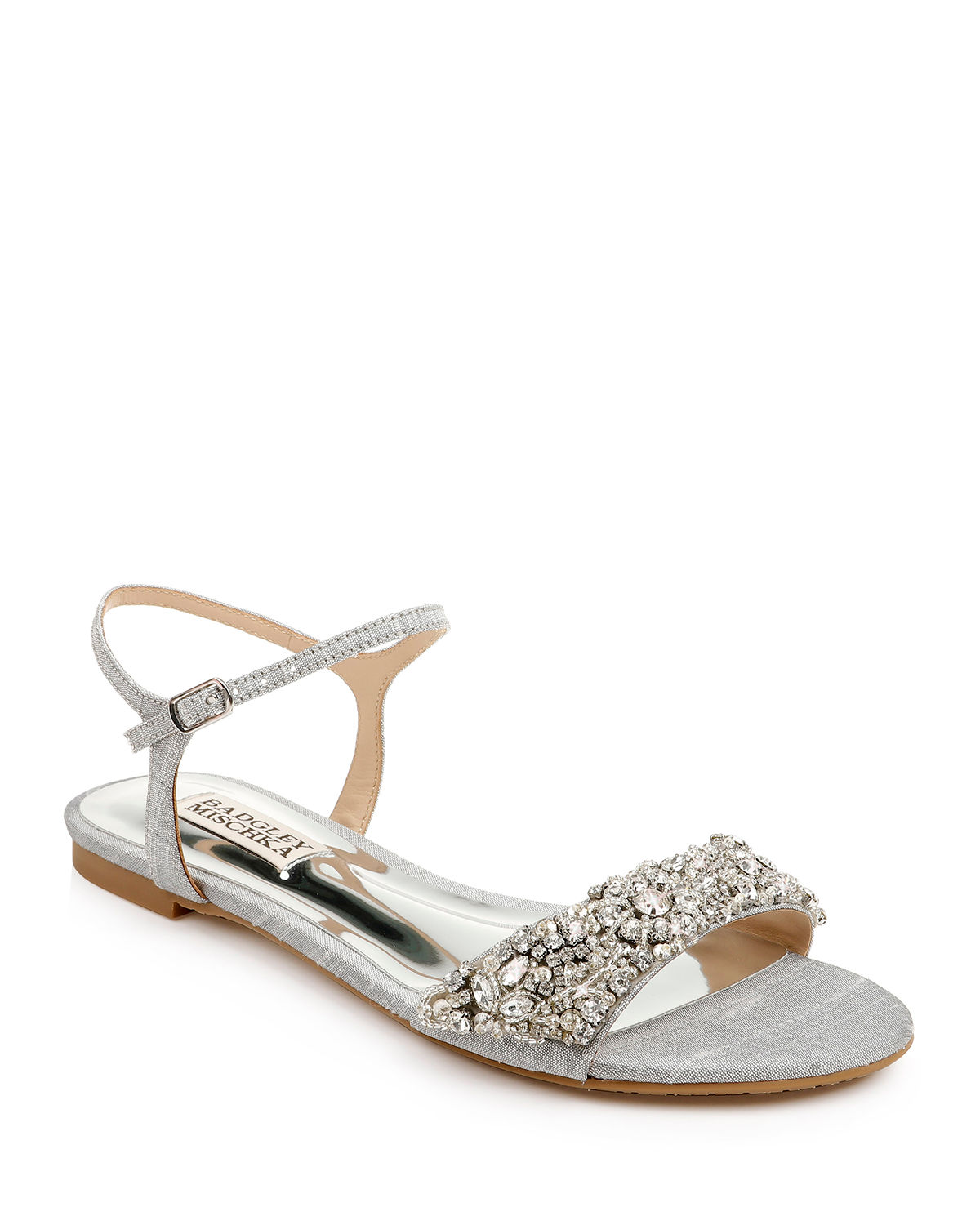 Badgley Mischka Flats CARMELLA BEJEWELED SILK FLAT SANDALS