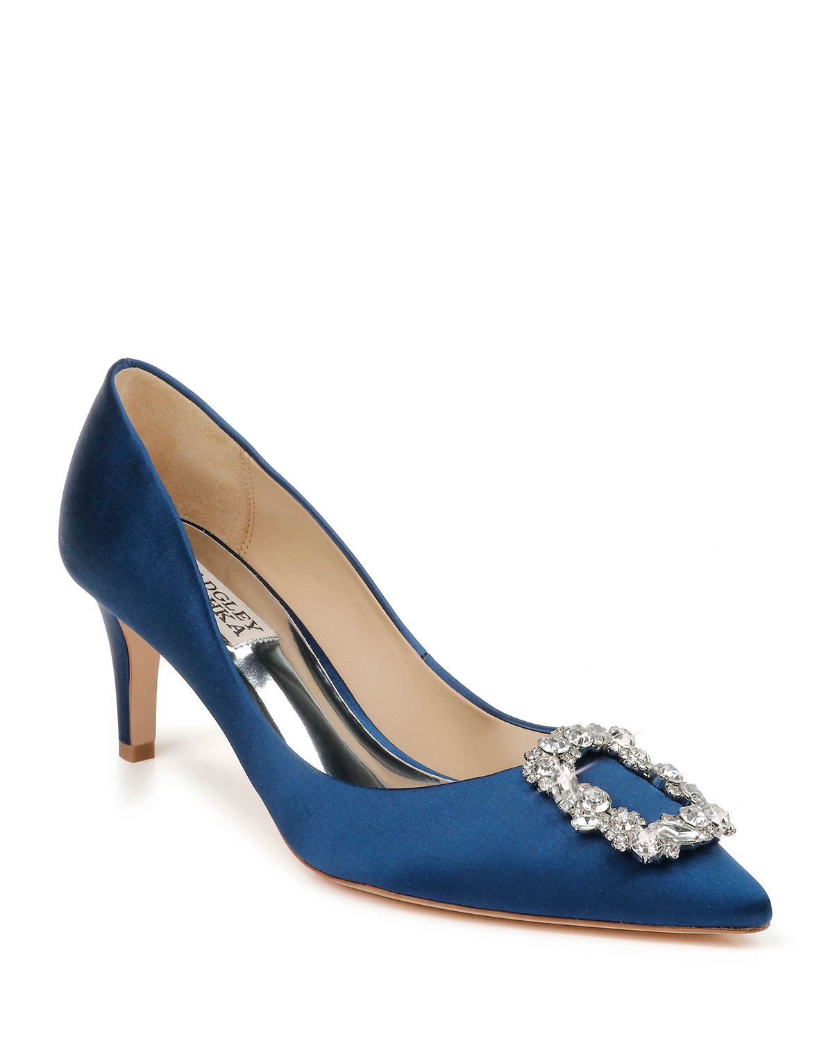 Badgley Mischka Pumps CARRIE CRYSTAL PILGRIM SATIN PUMPS