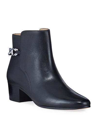 Carissa Chain Leather Zip Booties