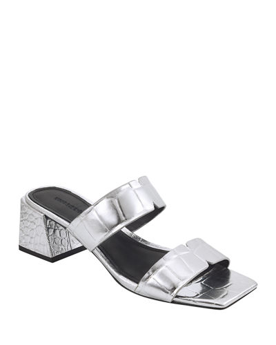 Elda Mock-Croc Slide Sandals with Square Heel