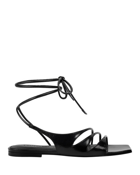 Image 2 of 5: Sigerson Morrison Faune Leather Ankle-Wrap Flat Sandals
