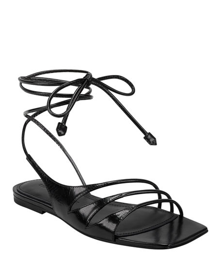 Image 1 of 5: Sigerson Morrison Faune Leather Ankle-Wrap Flat Sandals