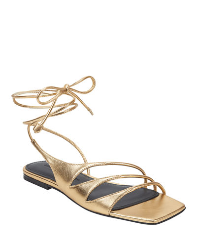 Faune Leather Ankle-Wrap Flat Sandals