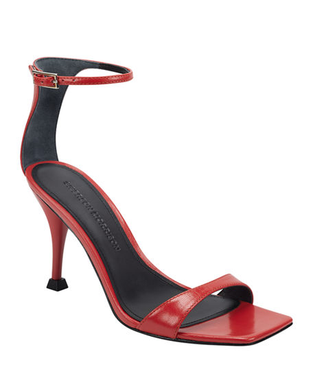 Sigerson Morrison Carita Leather Pedestal-Heel Sandals