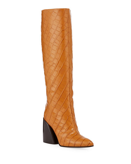 Chloe Wave Croc-Embossed Tall Boots
