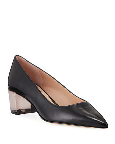 Carole Clear-Heel Leather Pumps