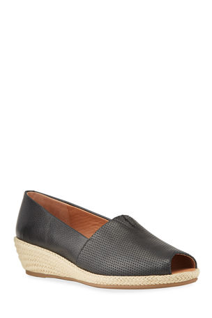 Gentle Souls Lydia Perforated Leather Wedge Espadrilles