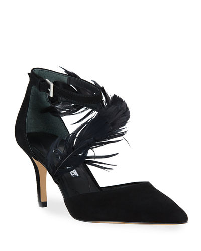 Attract Ankle-Strap Feather Pumps