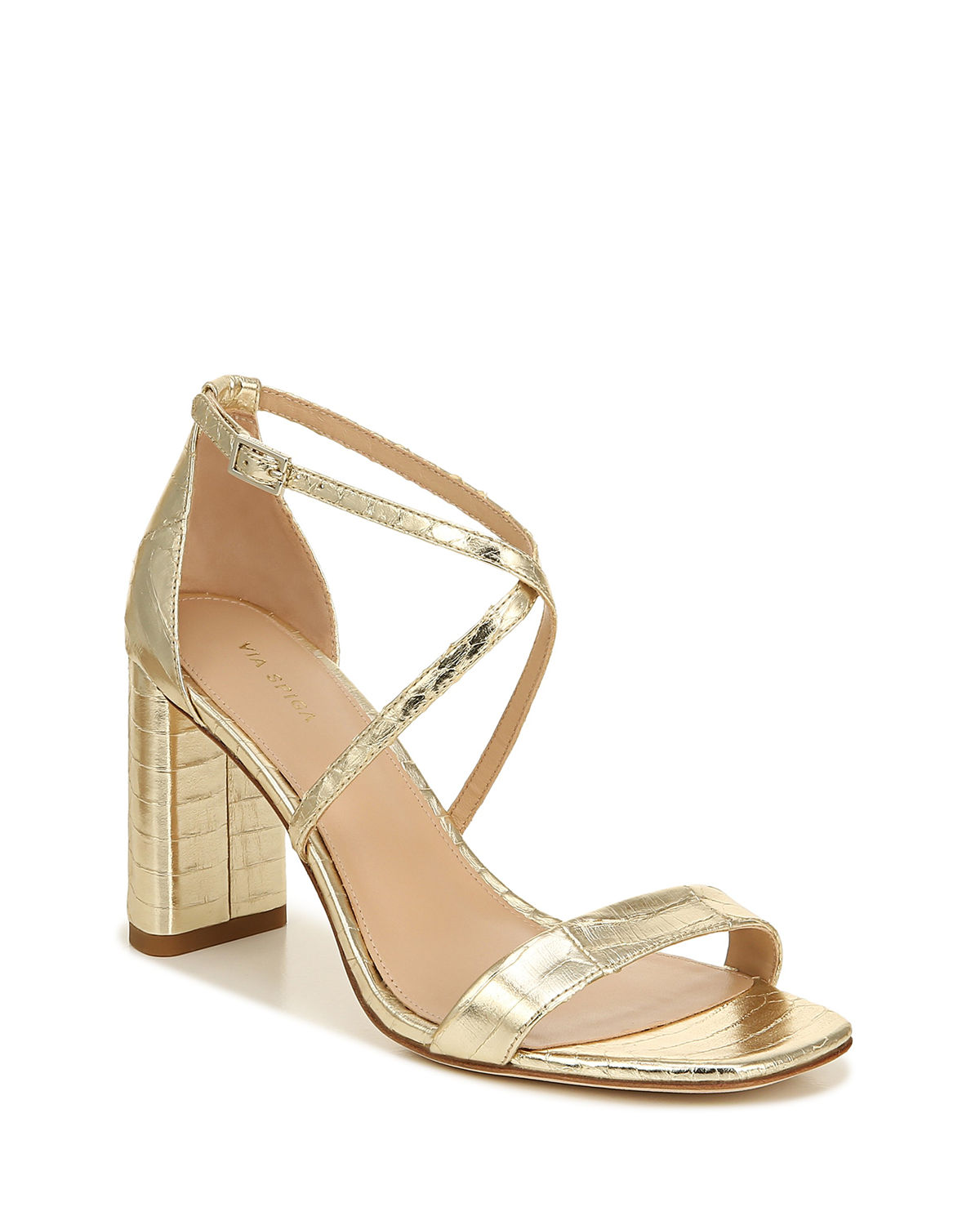 Via Spiga SABINNE METALLIC SNAKE-PRINT SANDALS
