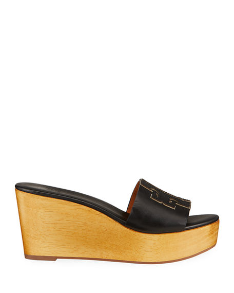 Image 2 of 4: Tory Burch Ines Leather Logo Wedge Sandals