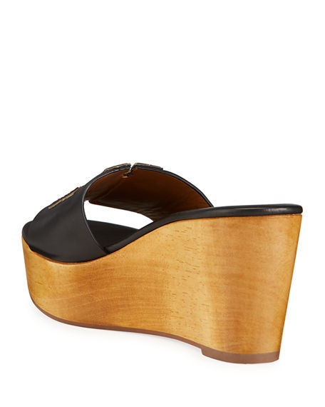Image 4 of 4: Tory Burch Ines Leather Logo Wedge Sandals