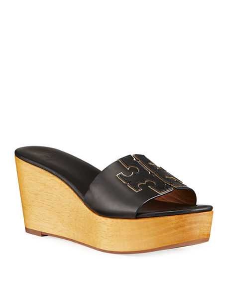 Image 1 of 4: Tory Burch Ines Leather Logo Wedge Sandals