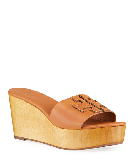 Tory Burch Ines Leather Logo Wedge Sandals