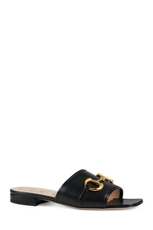 Gucci Deva Leather Slide Sandals With Horsebit