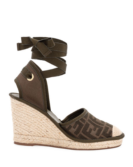 Image 2 of 4: Fendi FF Logo Ankle-Wrap Wedge Espadrilles