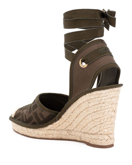 Image 3 of 4: Fendi FF Logo Ankle-Wrap Wedge Espadrilles
