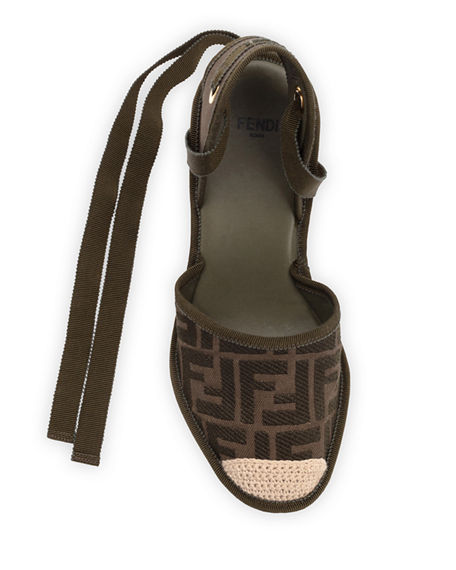 Image 4 of 4: Fendi FF Logo Ankle-Wrap Wedge Espadrilles