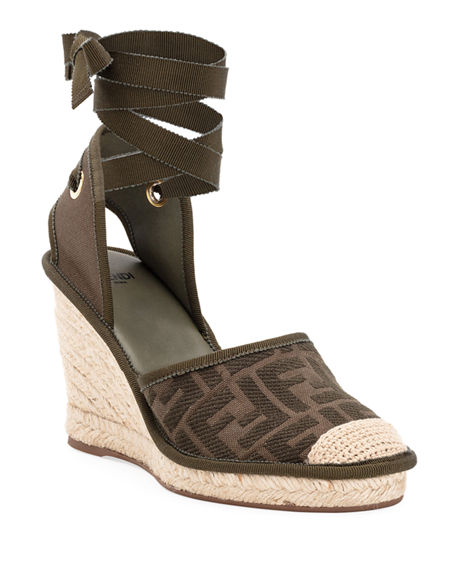 Image 1 of 4: Fendi FF Logo Ankle-Wrap Wedge Espadrilles
