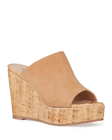 Stuart Weitzman Margarite Suede Wedge Sandals