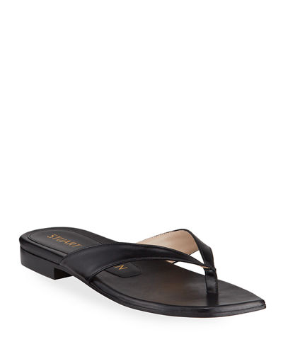 Aldona Flat Square-Toe Leather Thong Sandals