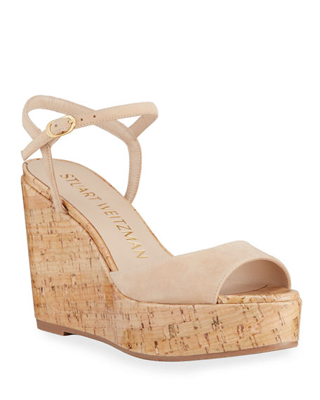Stuart Weitzman Palmina Suede Cork Wedge Sandals