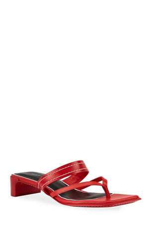 Rag & Bone Colt Mid-Heel Square-Toe Slide Sandals