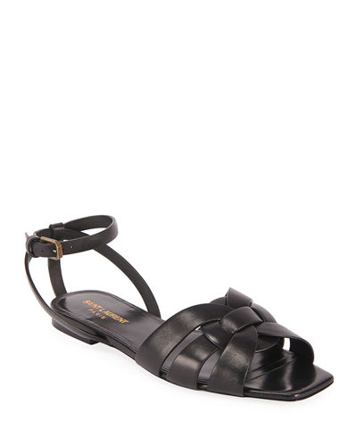 Saint Laurent Nu Pieds Woven Leather Ankle-Strap Flat Sandals